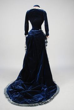 Lot: TRAINED SILK BROCADE and VELVET BUSTLE DRESS, 1880s., Lot Number: 0626, Starting Bid: $150, Auctioneer: Charles A. Whitaker Auction Co., Auction: Couture, Textiles, Beaded Bags, Jewelry, Date: October 17th, 2015 BST