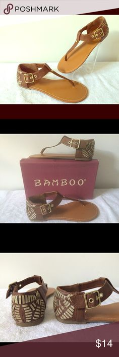Bamboo Summer Sandal New In Box : Up for sale are these chic flat sandals by Bamboo. Featuring adjustable buckle closure & standard T-strap thong. Caramel brown color. Back heel is embellished in gold, see pics. Would pair well w/ a boho sundress. MSRP sticker states $32.97. Bamboo Shoes Sandals