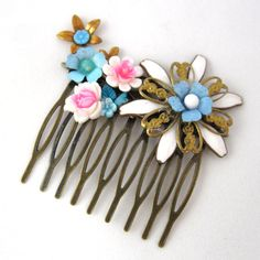 Vintage Bridal Hair Comb with pink and blue kawai flowers - Collage Wedding Hair Piece on Etsy, 197,18 kr