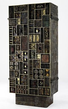 Paul Evans; Wood, Bronze and Gold Leaf Cabinet, 1972. Pinned by a Taste Setter: www.thetastesetters.com