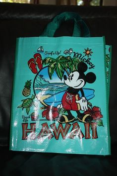New Disney Store Reusable Tote Shopping Bag Hawaii Mickey Mouse Surf's Up Beach