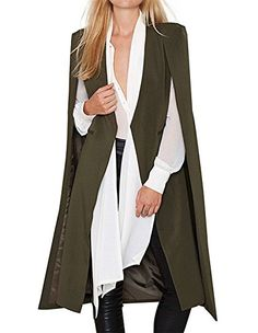 322a28be201 hodoyi Womens Open Front Cloak Cape Lightweight Trench Coat Longline Blazer  at Amazon Women s Clothing store