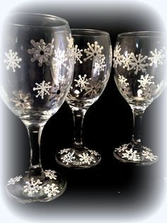 Christmas WIne Glasses  Set of 4 Snowflake on Etsy, $48.00