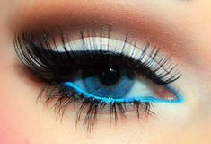 blue underliner and white eyeshadow