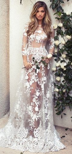 Sexy sheer lace wedding dress by Lurelly Bridal