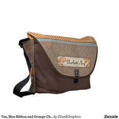 Tan, Blue Ribbon and Orange Chevrons Messenger Bags  #CourierBag #bag #MessengerBag #travel #carryon