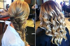 wedding hair - fishtail plait, long hair, wavy, curly