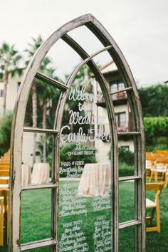 Whimsical window wedding decor / http://www.deerpearlflowers.com/diy-window-wedding-ideas/2/
