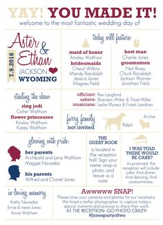 Dont just give your guests the basics- let them know a little bit more about how your wedding day happened! This fun and informative info graphic is a great way to give your guests the scoop on your big day, from the dress to the RSVPs. This listing is for the double sided 5X7 digital file only (no print goods will be exchanged.). Please note that 5X7 pieces will need to be trimmed to size when printed 2 per 8.5X11 page. How it all works:  Step 1: You place your order. Because all of our…