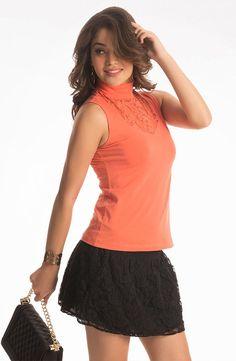 PrettySecrets Mandarin Orange Turtle Neck Lace Top