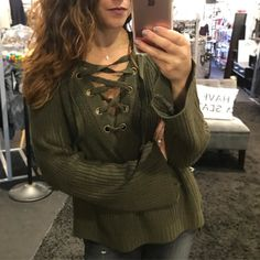 """The perfect sweater for this crisp fall day """"Laced up and Ready"""" ($64)  Gotta  FREE SHIPPING! Call 440.893.9279 or email sales@sanitystyle.com to order or shop instore!  #sanitystyle #sanitychagrinfalls #shoplocal #chagrinfalls #shopchagrinfalls #boutique #freeshipping #cleveland #clevelandfashion #clevelandstyle #style #shop #cle #thisiscle #love #selloninsta #instasale #fashionpost #beautiful #picoftheday #shopping #shopaholic #fall #fallfashion  #retailtherapy"""