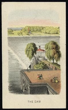 Creator(s): Sinclair, John C., approximately 1842-,  Print shows a view of the river, dam, and spillway, with a gazebo and pedestrian mall, from a souvenir booklet of views of Fairmount Park in Philadelphia, part 1st, 1870. Date Created/Published: [Philada. : Published by J.C. Sinclair, c1870] Medium: 1 print : lithograph, color ; 10.3 x 6.2 cm.