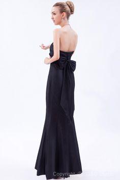 Modern Sleeveless Ruched/Bow Taffeta Strapless Floor-length Mermaid Dropped Black Zipper Prom Dress