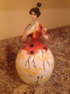 Oriental  Lady Holding Fan Powder Jar Box Half Doll Markings France Paris