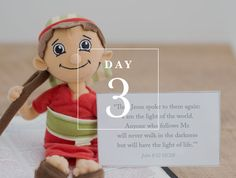 Shepherd on the Search    Daily ADVENTure Day 3 : Memory Verse  John 8:12  (with printable)  Christian elf on the shelf alternative  #Shepherdonthesearch