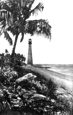Cape Florida Lighthouse along the beach. (1920s) | Florida Memory