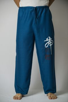 Chinese Writing Men's Thai Yoga Pants in Blue – Harem Pants