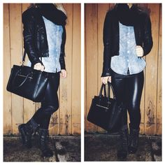 Scarf ~ handmade • denim shirt ~ Charlotte Russ • Leather pants ~ forever21 • socks ~ Tjmax • Shoes ~ guess