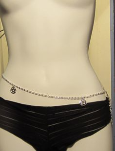 Pentacle Belly Chain , Wicca, Pagan Wiccan Wear,  Silver Jewelry