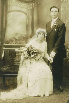 The 1910s introduced a more flowing silhouette for wedding gowns. Dancing also became a popular part of the wedding celebration, with phonographs providing background music as guests danced the tango, turkey trot, and hesitation waltz. Pictured: Joseph and Susanna Nash, married in the 1910s