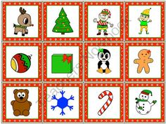 FREE TLC Christmas Picture Cards from The T.L.C. Shop on TeachersNotebook.com (1 page)  - 12 cute holidays multipurpose picture cards created by The T.L.C. Shop.