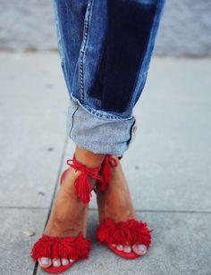 Jean roots + sandales sophistiquées hautes perchées = le bon mix (blog Sincerely Jules)