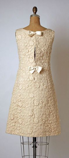 This 1960s dress is so sweet! | Dress, Evening André Courrèges (French, born 1923) Date: fall/winter 1964–65 Culture: French Medium: silk, wool