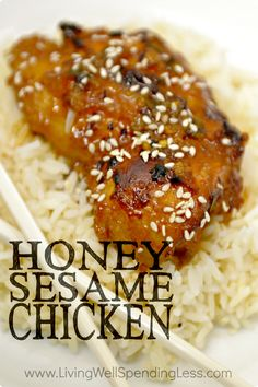 "Want to wow your family with a fresh new chicken recipe that whips up fast?  This super-flavorful honey sesame chicken is another favorite ""cheater"" freezer recipe--easy, delicious, and practically mess-free, plus freezer and crockpot friendly.  Easier (and cheaper) than takeout, my family gave it a perfect 10!"