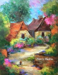 "Daily Paintworks - ""French Rendezvous Romantic Kitty and a Sonoma, California, Workshop - Paintings by Nancy Medina"" - Original Fine Art for Sale - © Nancy Medina Watercolor Landscape, Landscape Paintings, Watercolor Art, Flower Paintings, Landscape Art, Cottage Art, Spring Painting, Learn Art, Contemporary Paintings"