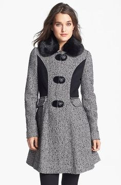 Betsey Johnson Faux Fur Collar Tweed Coat | Nordstrom