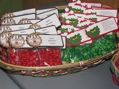 Reindeer Noses and Grinch Pills - I made different labels and used Holiday Peanut m&m's