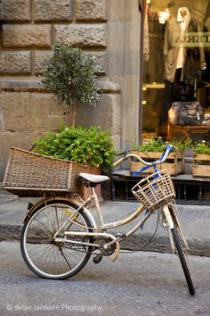 Bicycle outside shop in Florence, Tuscany Italy. © Brian Jannsen Photography
