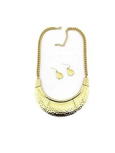 Solid Color Half Moon Shaped Metal Necklace Earrings