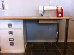 new sewing table by paula wessells via flickr what a great idea