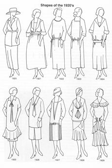 clothing shapes of the 1920s -- interesting to see the evolution from this era into the next.  Oh, Downton Abbey, you are going to make me do a 20s board, aren't you?