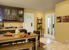 modern yellow kitchen colors benjamin moore roasted sesame seed, powder sand and indian river (ceiling)