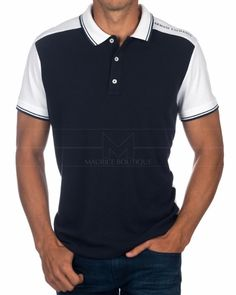 8197f7c7a Polo Armani Exchange - Azul Marino & Blanco Smart Casual Polo Shirt, Mens  Polo T