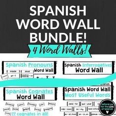Includes FOUR Spanish word walls. Big and bold, black and white bricks with essential Spanish vocabulary. Easy to read from back of the room. Print to colored card stock and laminate to match any decor. Great visual resource to continually reinforce vocabulary.