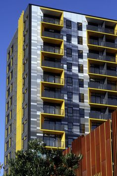MERCHANT QUARTER: Some great photos of the multi-coloured Alucobond composite panels used to clad this apartment building.