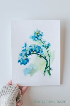 This beautiful watercolor painting belongs to a floral collection inspired in spring colors and tonalities. Perfect if you love the delicacy of forget me nots and decorate with floral art, this little blue flowers will cheer up any room of your home!#blueflowers #floralart #botanicalart #botanicalwatercolor #watercolorart #floralwatercolor Botanical Art, Botanical Illustration, Watercolor Illustration, Watercolor And Ink, Watercolor Paintings, Original Paintings, Watercolors, Wall Art Decor, Wall Art Prints