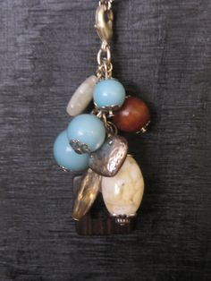 Turquoise, Brown and Silver Cluster! New To Etsy Today!    Interchangeable Necklace Charm Cluster by MakeOverJewelry on Etsy, $10.00