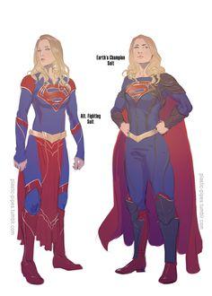Supergirl outfits by plastic-pipes Superhero Suits, Superhero Design, Dc Comics Characters, Female Characters, Arte Dc Comics, Marvel Comics, Super Heroine, Melissa Marie Benoist, Comics Girls