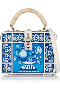 Dolce & Gabbana | Dolce leather-trimmed engraved wood shoulder bag | NET-A-PORTER.COM