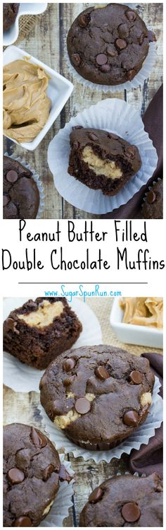 Peanut Butter Filled Double Chocolate Muffins SugarSpunRun