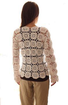 Ecru Crochet blouse XLXXL SIZE cotton yarn by AlicjaCollection