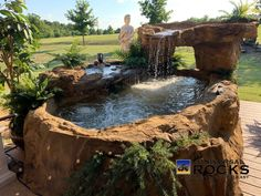 Stream Collection | Universal Rocks Hot Tub Deck, Hot Tub Backyard, Jacuzzi, Whirlpool Deck, Round Hot Tub, Types Of Fences, Cool Plants, Backyard Landscaping, Landscaping Ideas
