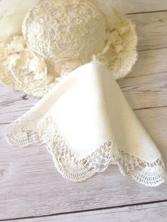 SOLD Wedding Handkerchief Ivory Hankie Brides Hanky by LollysCubbyHole