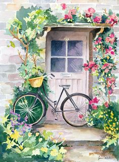 The Pleasure Of Biking In England Greeting Card for Sale by Jean Walker White - Malerei Watercolor Landscape, Landscape Paintings, Watercolor Paintings, Watercolour, Watercolor Flowers, Bicycle Painting, Bicycle Art, Bicycle Safety, Bicycle Design