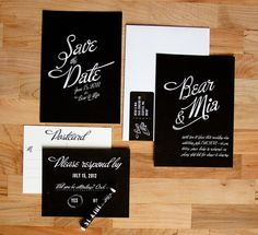 Chalkboard invites, complete with piece of chalk for guests to circle yes/no on the RSVP card. mind=blown. $4.50 each