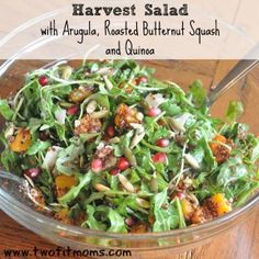 Two Fit Moms Harvest Salad with Arugula, Roasted Butternut Squash and Quinoa